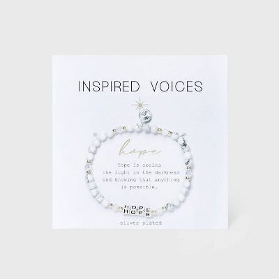 Silver Plated 'Hope' Stretch Bracelet - White