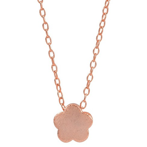 "Women's Journee Collection Flower Pendant Necklace in Sterling Silver - Rose Gold (16"") - image 1 of 2"