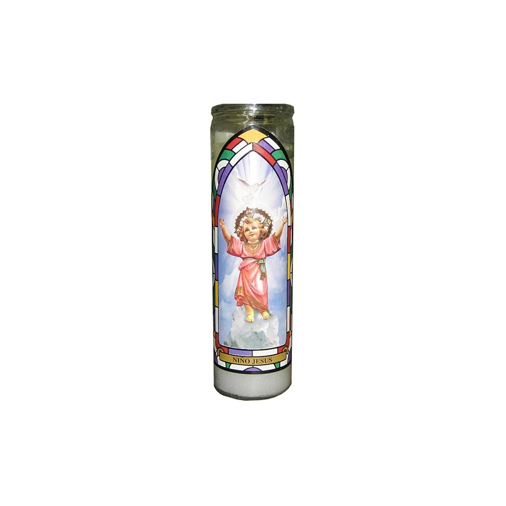 Image of 11.3oz Unscented Divino Niño Jesús Glass Jar Candle White - Continental Candle