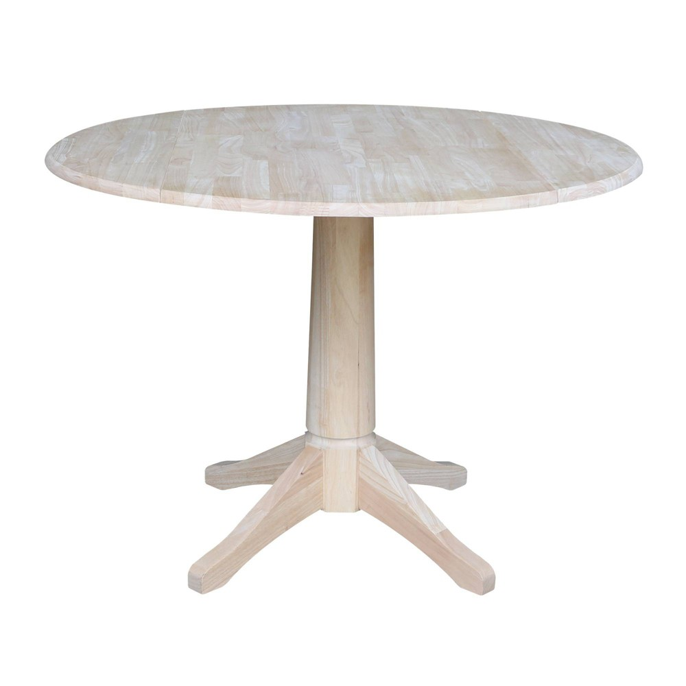 "Image of ""30.3"""" Jeremy Round Drop Leaf Table Blue - International Concepts, Size: 30.3""""H, Beige"""