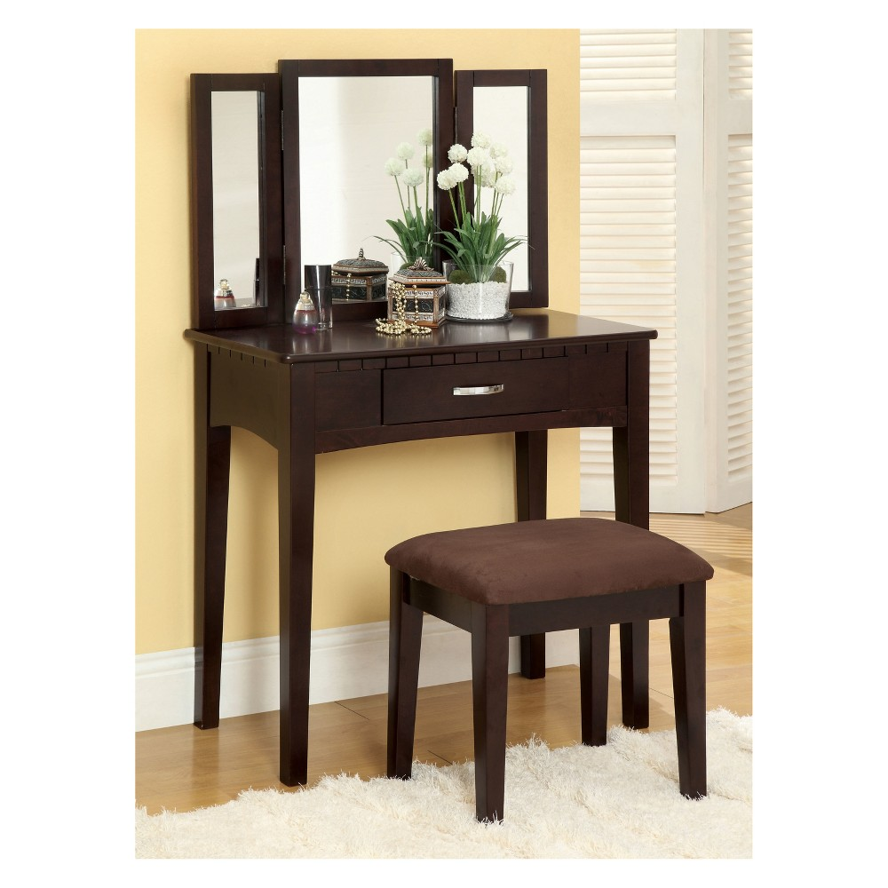 Larissa Vanity Set Espresso (Brown) - Homes: Inside + Out
