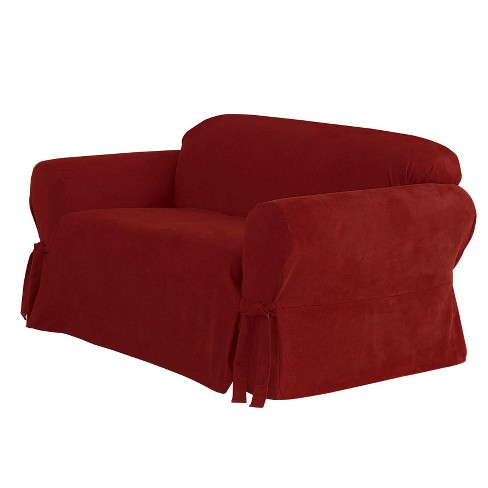 Soft Suede Loveseat Slipcover - Sure Fit - image 1 of 2
