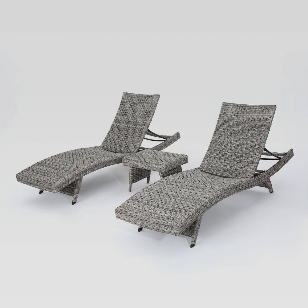 Crete 3pc Wicker Chaise Lounge Set - Gray - Christopher Knight Home