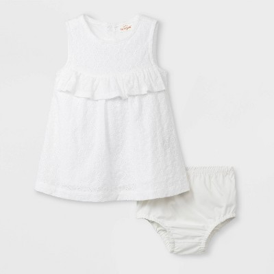Baby Girls' Ruffle Eyelet Dress - Cat & Jack™ White 3-6M