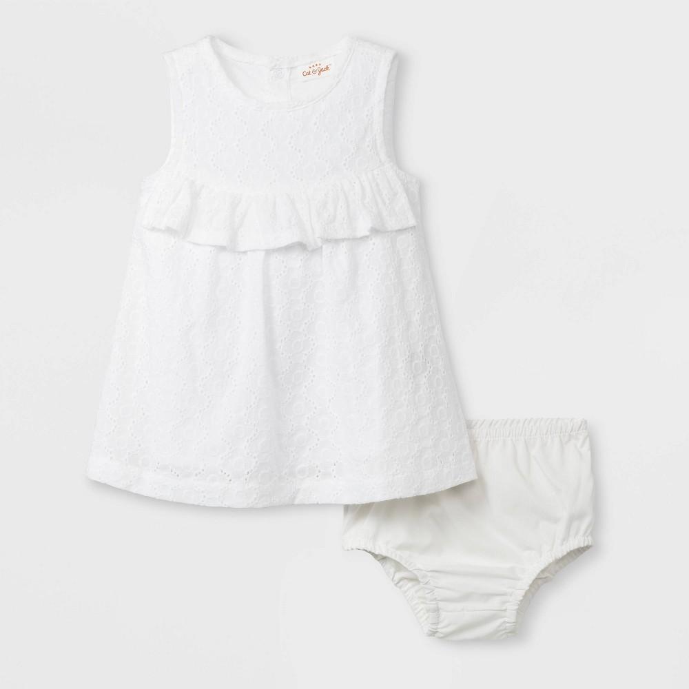 Baby Girls' Ruffle Eyelet Dress - Cat & Jack White 0-3M