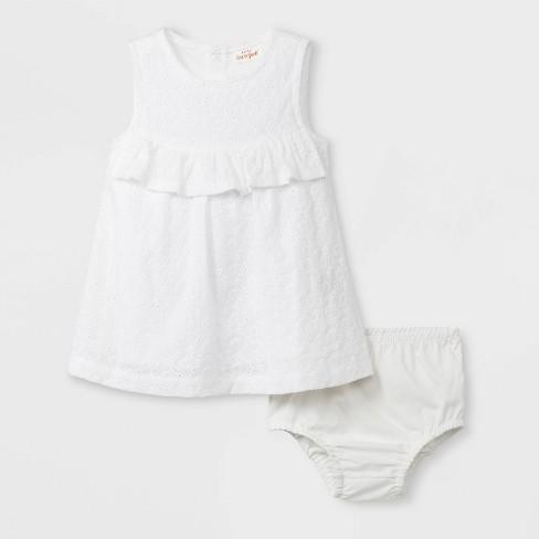34eb6b62251 Baby Girls  Ruffle Eyelet Dress - Cat   Jack™ White   Target
