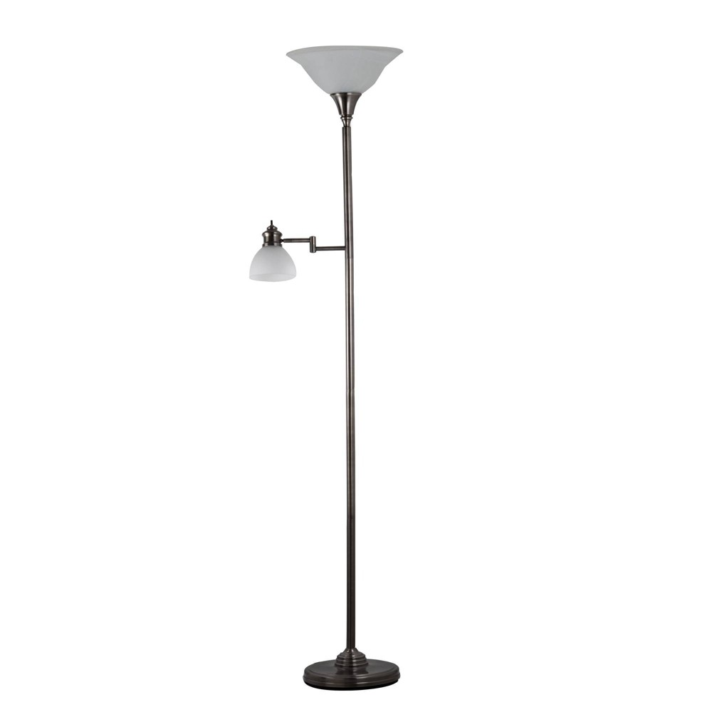 Image of Aaron Torchiere Swing Arm Reading Light Antique Pewter - Adesso