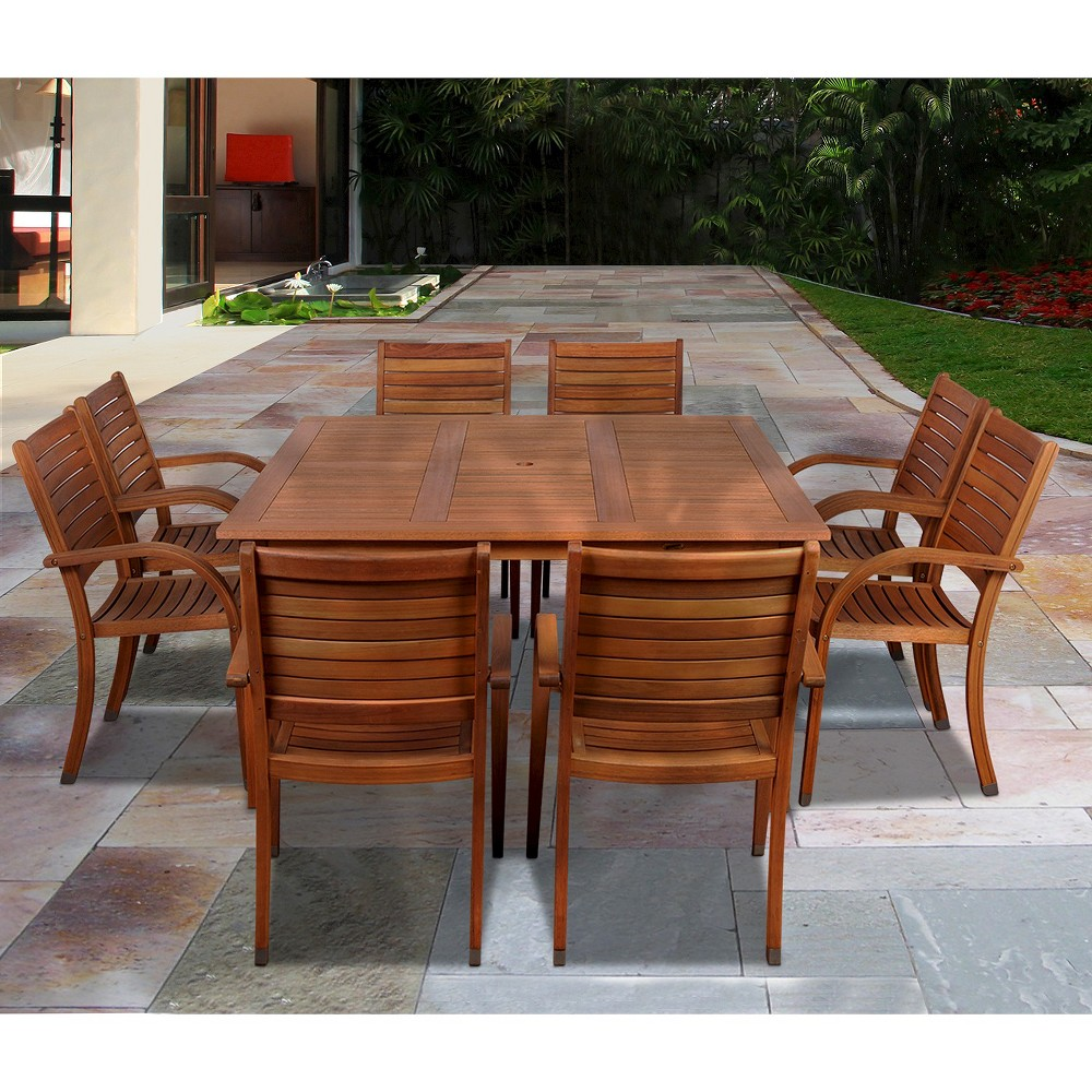 Lauderdale 9-Piece Wood Square Patio Dining Furniture Set, Brown