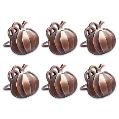 6pk Harvest Pumpkin Napkin Ring Bronze - Design Imports