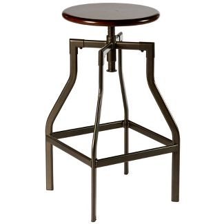 26-30u0022 Cyprus Adjustable Backless Stool Pewter/Cherry - Hillsdale Furniture