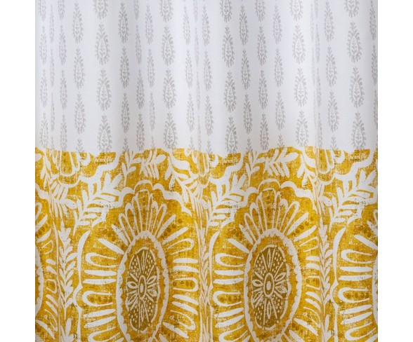 Pieced Block Print Shower Curtain White, Yellow And White Shower Curtains