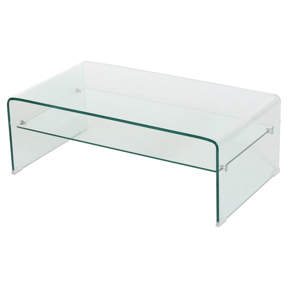 Ramona Glass Rectangle Coffee Table w/ Shelf Clear - Christopher Knight Home