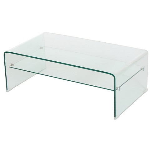 Ramona Glass Rectangle Coffee Table w/ Shelf Clear - Christopher Knight Home - image 1 of 4