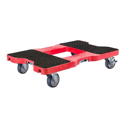 Snap Loc 1,200 lb Capacity General Purpose E Track Dolly Red, Heavy Duty 4 in Thermoplastic Swivel Non Marking Caster Wheels