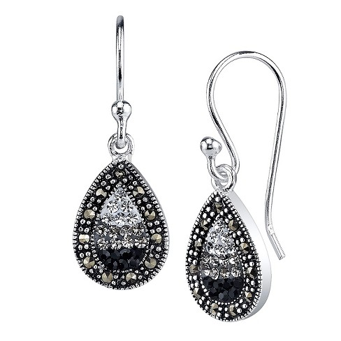"""Silver Diamond Crystal and Plated Marcasite Earring - Black/Silver (1.0"""") - image 1 of 1"""