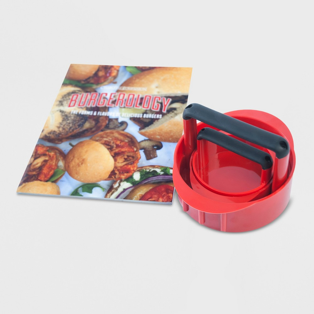 Image of Charcoal Companion 3-in-1 Burger Press with Recipe Book - Red