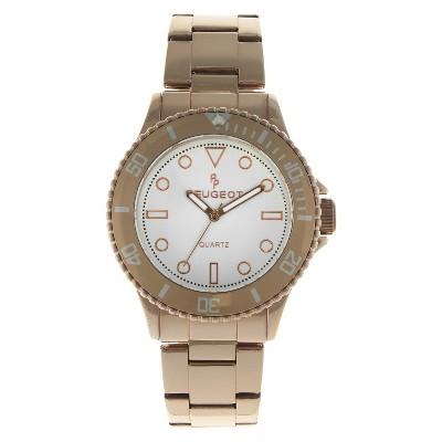 Women's Peugeot Ratchet Bezel White dial Watch - Rose Gold