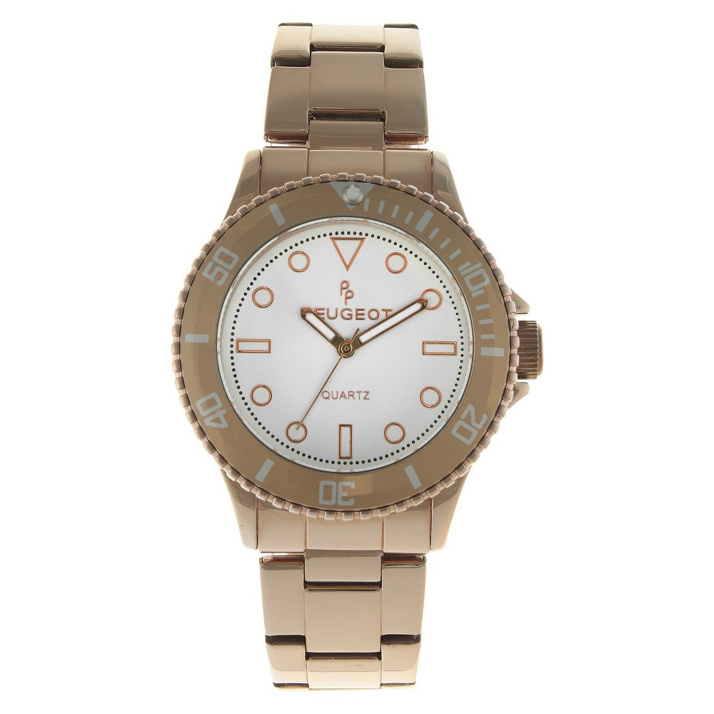 Women's Peugeot Ratchet Bezel White dial Watch - Rose Gold
