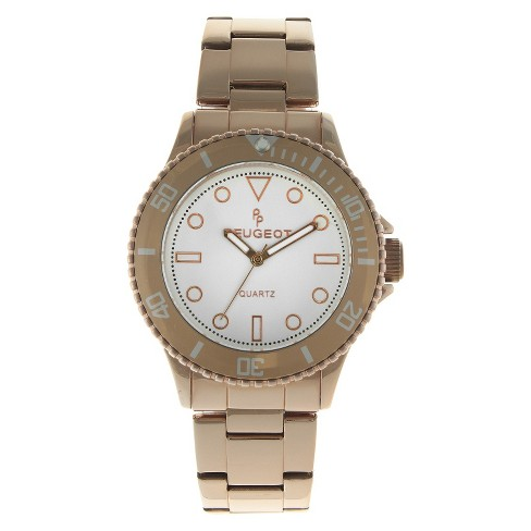 Women's Peugeot Ratchet Bezel White dial Watch - Rose Gold - image 1 of 4