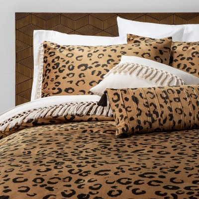 Full/Queen 5pc Cassina Leopard Velvet Comforter Set Brown - Opalhouse™