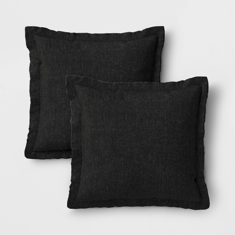Image of 2pk Outdoor Throw Pillows DuraSeason Fabric Black - Threshold
