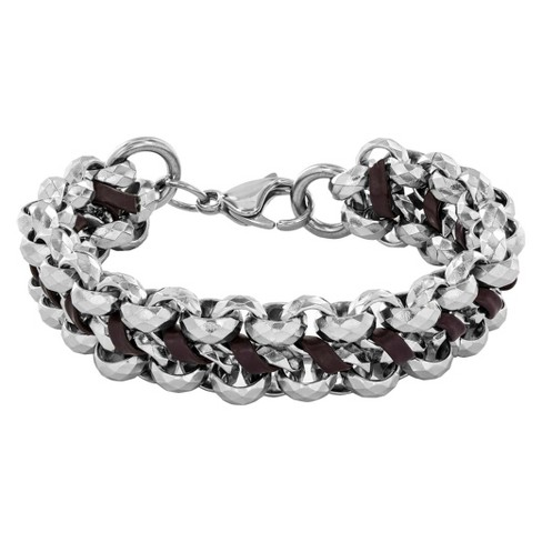 Crucible Men's Stainless Steel Faceted Double Chain Link with Leather Bracelet - Brown - image 1 of 3