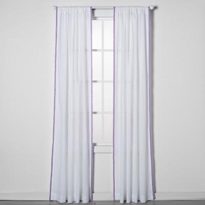 42 x84  Sheer Pom Pom Window Panel Lavender - Pillowfort™