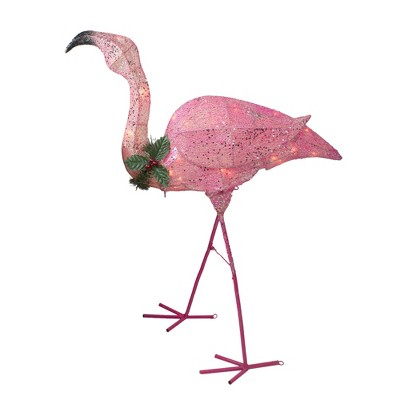 Northlight 3' Pink Glittered Flamingo with Holly and Berry Outdoor Yard Decor