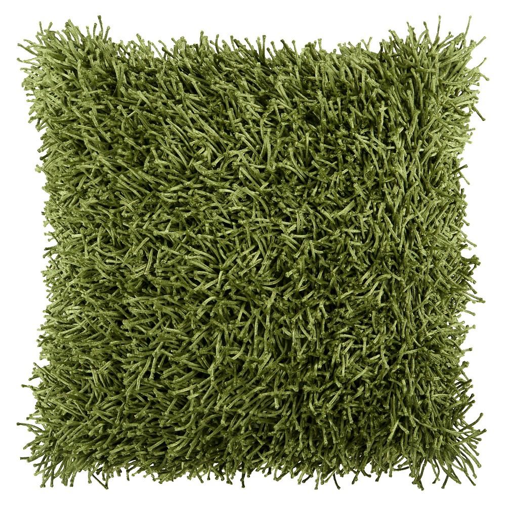 Moss (Green) Nitro Shag Throw Pillow 18