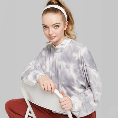Women's Mock Turtleneck Tie Dyed Sweatshirt - Wild Fable™ Gray