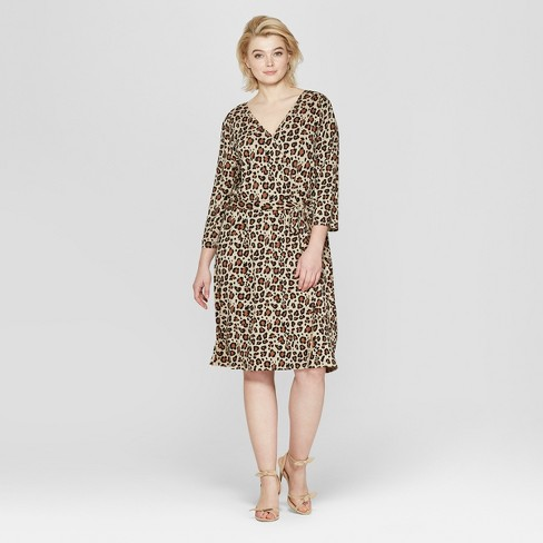 Women\'s Plus Size Leopard Print 3/4 Sleeve Wrap Midi Dress - Ava & Viv™ Tan  3X