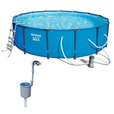 Bestway 15ft x 42in Steel Pro Max Frame Above Ground Swimming Pool & Skimmer