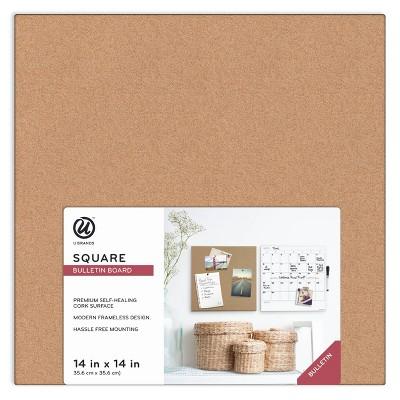 """U Brands 14""""x14""""x0.625"""" Square Frameless Cork Board Tile"""