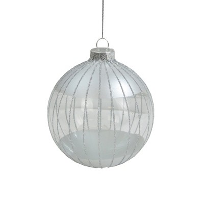 "Northlight Clear and Silver Glitter Striped Glass Ball Christmas Ornament 4"" (100mm)"