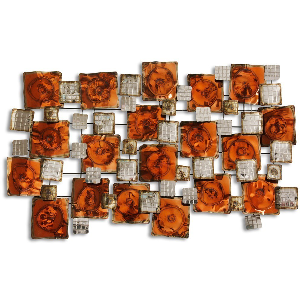 48 Burnished and Glazed Metal Decorative Wall Art - StyleCraft, Multi-Colored