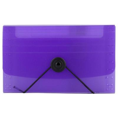 """JAM Paper 4 1/4"""" x 6 3/4"""" 13 Pocket Plastic Expanding File - Coupon Size - Purple"""
