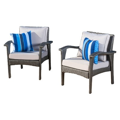 Honolulu Set of 2 Outdoor Wicker Club Chair with Cushion - Christopher Knight Home