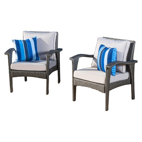 Honolulu Set Of 2 Outdoor Wicker Club Chair With Cushion Christopher Knight Home