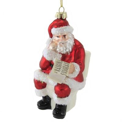 "Holiday Ornament 6.0"" North Poo Santa Ornament Clause Toilet Christmas  -  Tree Ornaments"