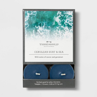 12pk Tealight Cerulean Surf and Sea Candle - Threshold™