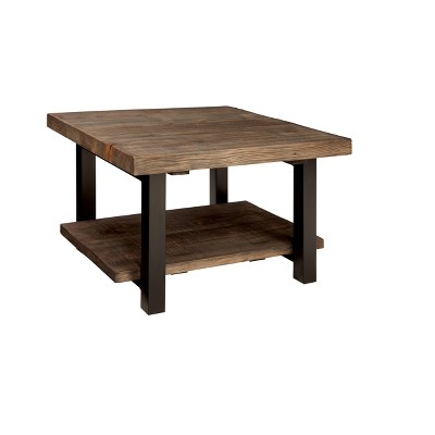 Pomona Cube Coffee Table Reclaimed Wood Rustic Natural   Alaterre Furniture
