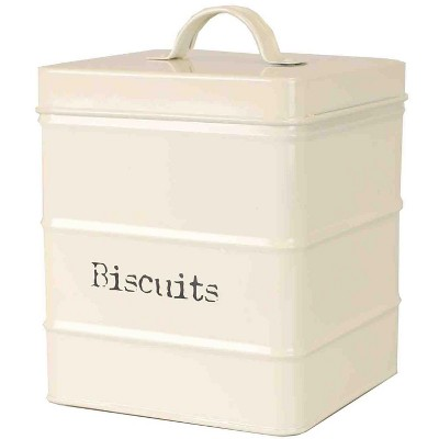 Home Basics Biscuits 2.8 LT Large Vintage Retro Enamel High Strength Tin Square Canister with Tight-Fit Lid and Easy Lift Handle, Ivory
