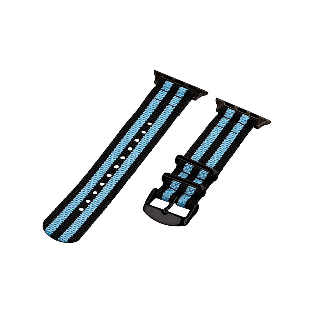 Clockwork Synergy Classic Nato 2 Apple Watch Band 38mm with Black Adapter - Black/Sky Blue, Adult Unisex, Multicolored Customize the look of your timepiece with the Classic Nato 2-Piece Apple Watch Band from Clockwork Synergy. Crafted from high-quality nylon, this black and sky blue watchband ensures long-lasting durability without sacrificing comfortable wear. With 11 adjustability holes, you'll get the perfect custom fit so your watch stays in place all day. Whether you keep things simple with just a pop of color with the black and blue watchband, or you switch it out depending on your outfit, you'll love sporting a unique look that complements your style. Color: Multicolored. Gender: Unisex. Age Group: Adult.