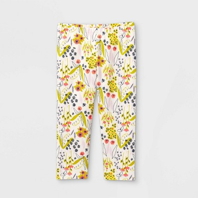 Girls' Floral Capri Leggings - Cat & Jack™ Cream