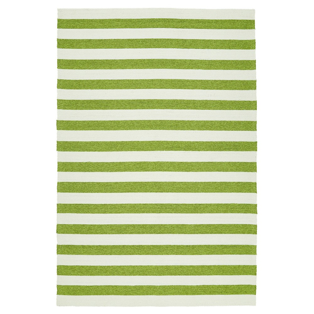 Image of Green Escape Stripes Indoor/Outdoor Area Rug (9'x12') - Kaleen Rugs, Size: 9'x12'