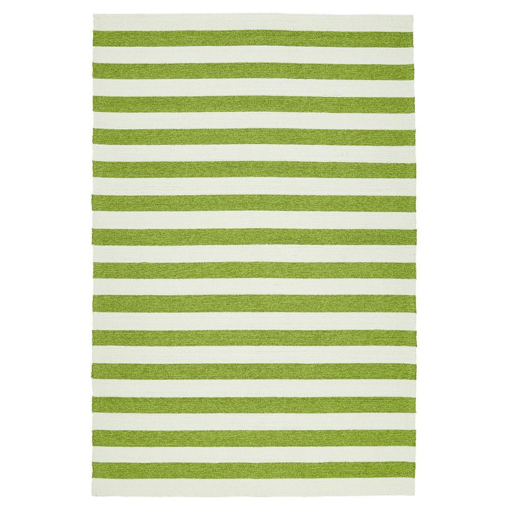 Green Escape Stripes Indoor/Outdoor Area Rug ((5'x7'6)) - Kaleen Rugs