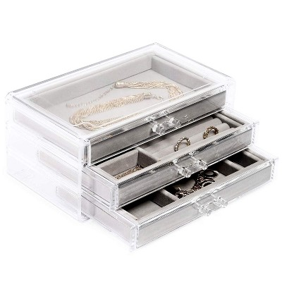 Juvale Acrylic Jewelry Box 3 Drawers, Velvet Jewelry Organizer with Small Clear Jewelry Case for Earrings, Rings, Bracelets and Necklaces Storage