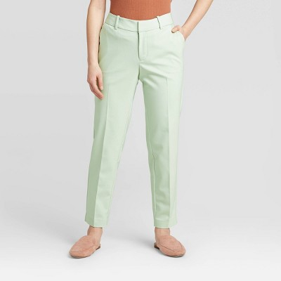 Women's Mid-Rise Slim Ankle Pants - A New Day™ Mint 0