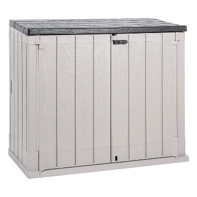 Toomax Stora Way Plus XL All-Weather Resin Outdoor Horizontal Storage Shed Cabinet for Trash Cans and Yard Tools, 44 cu ft, Taupe Grey/Anthracite