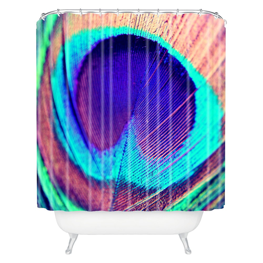 Pretty Peacock Shower Curtain Rich Plum - Deny Designs